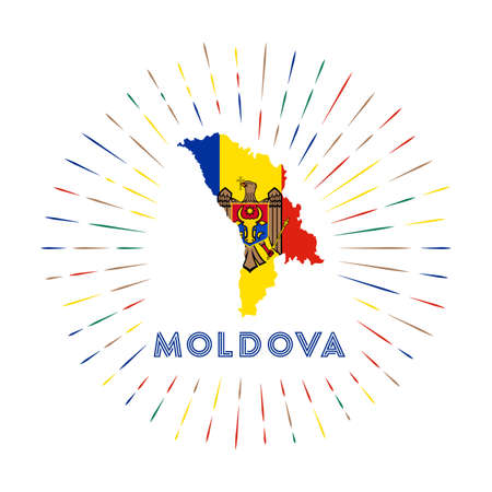 Moldova sunburst badge. The country sign with map of Moldova with Moldovan flag. Colorful rays around the logo. Vector illustration.