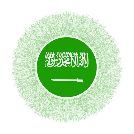 Flag of Saudi Arabia with colorful rays. Radiant country sign. Shiny sunburst with Saudi Arabia flag. Captivating vector illustration.