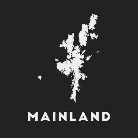 Mainland icon. Island map on dark background. Stylish Mainland map with island name. Vector illustration.