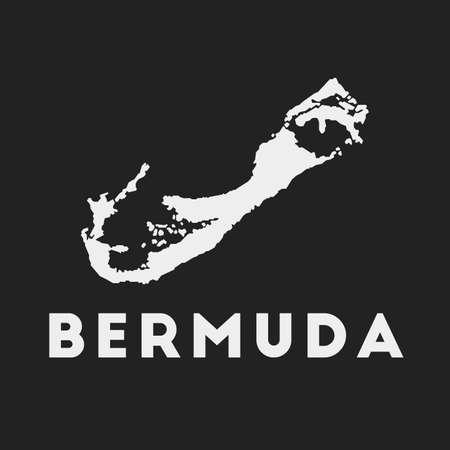 Bermuda icon. Island map on dark background. Stylish Bermuda map with island name. Vector illustration. Ilustração
