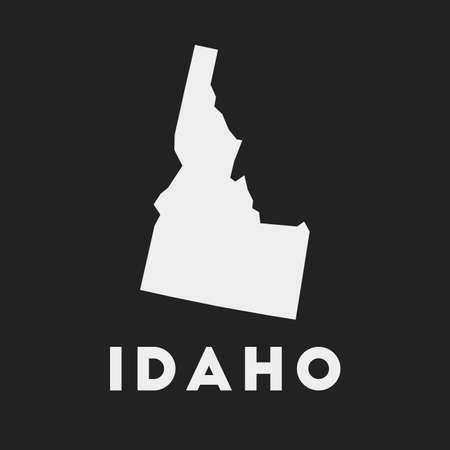 Idaho icon. Us state map on dark background. Stylish Idaho map with us state name. Vector illustration. Ilustração