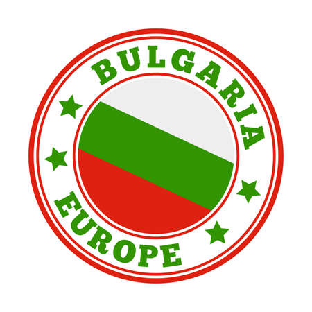 Bulgaria sign. Round country logo with flag of Bulgaria. Vector illustration. 向量圖像