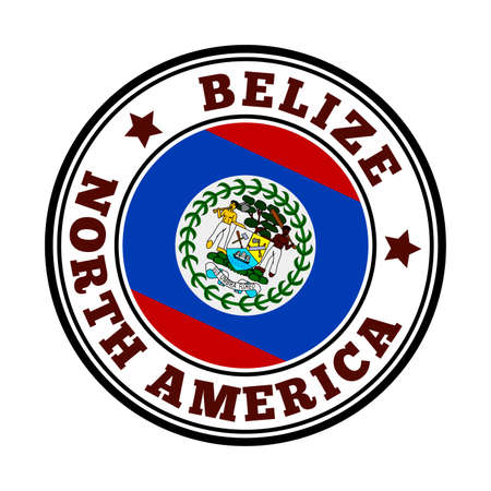Belize sign. Round country logo with flag of Belize. Vector illustration. Stock Illustratie