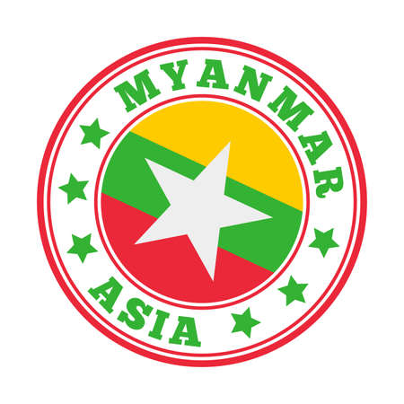 Myanmar sign. Round country logo with flag of Myanmar. Vector illustration. Stock Illustratie