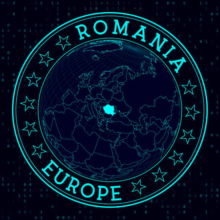 Romania round sign. Futuristic satelite view of the world centered to Romania. Country badge with map, round text and binary background. Amazing vector illustration. Vettoriali
