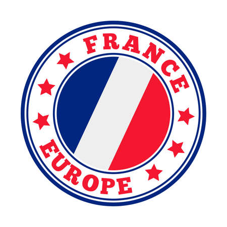 France sign. Round country logo with flag of France. Vector illustration.
