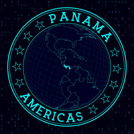 Panama round sign. Futuristic satelite view of the world centered to Panama. Country badge with map, round text and binary background. Cool vector illustration.  イラスト・ベクター素材