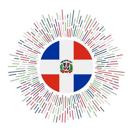 Dominicana-Zeichen. Landesflagge mit bunten Strahlen. Strahlender Sonnendurchbruch mit Dominicana-Flagge. Vektor-Illustration. Vektorgrafik