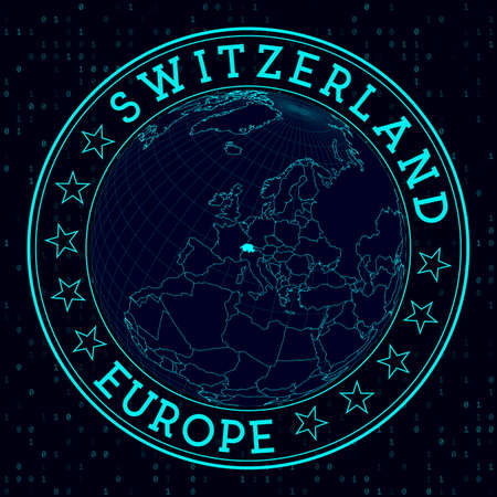 Switzerland round sign. Futuristic satelite view of the world centered to Switzerland. Country badge with map, round text and binary background. Awesome vector illustration.