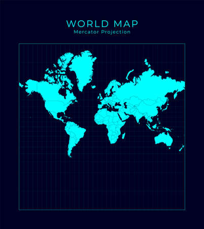 Map of The World. Spherical Mercator projection. Futuristic Infographic world illustration. Bright cyan colors on dark background. Trendy vector illustration. 向量圖像