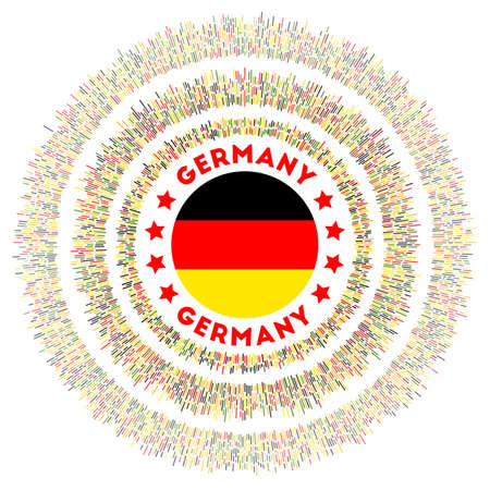 Germany symbol. Radiant country flag with colorful rays. Shiny sunburst with Germany flag. Creative vector illustration.