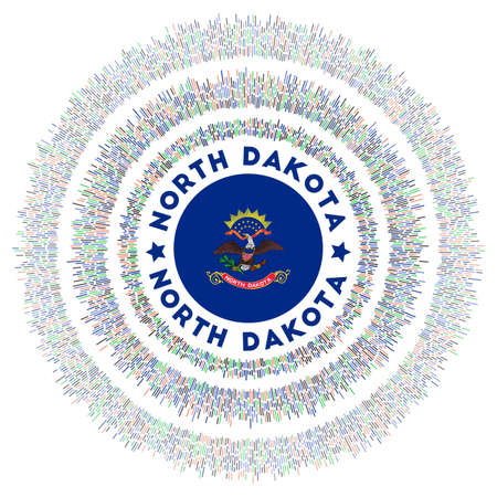 North Dakota symbol. Radiant us state flag with colorful rays. Shiny sunburst with North Dakota flag. Radiant vector illustration. Иллюстрация