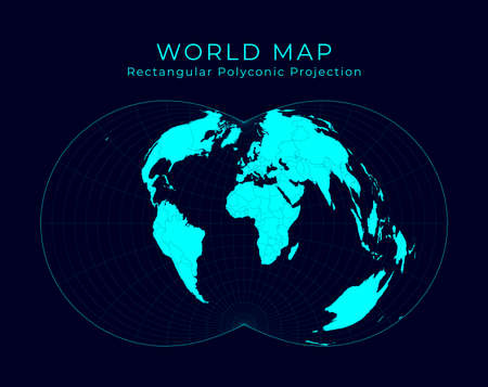 Map of The World. Rectangular (War Office) polyconic projection. Futuristic Infographic world illustration. Bright cyan colors on dark background. Trendy vector illustration.