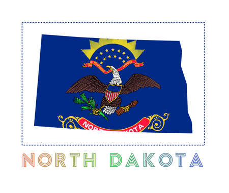 North Dakota Logo. Map of North Dakota with us state name and flag. Radiant vector illustration. Фото со стока - 138371196