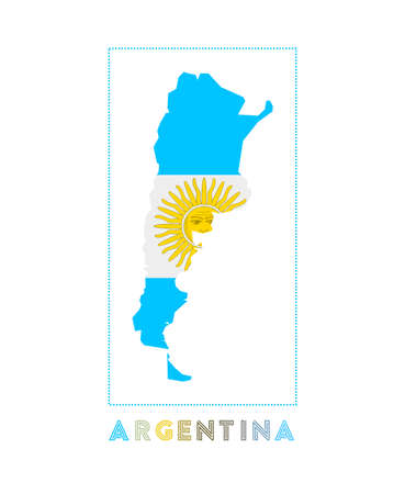 Argentina Logo. Map of Argentina with country name and flag. Attractive vector illustration.