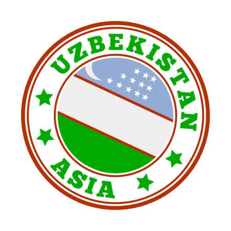 Uzbekistan sign. Round country logo with flag of Uzbekistan. Vector illustration.