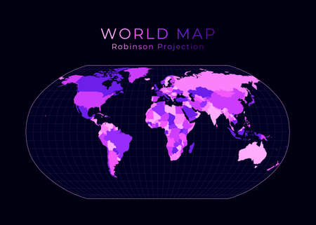 World Map. Robinson projection. Digital world illustration. Bright pink neon colors on dark background. Vibrant vector illustration.