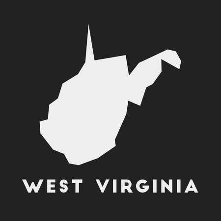 West Virginia icon. Us state map on dark background. Stylish West Virginia map with us state name. Vector illustration.