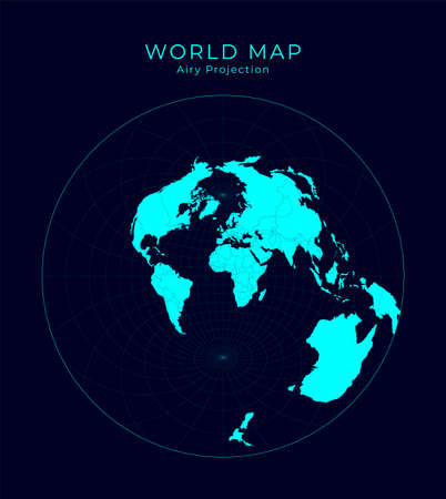 Map of The World. Airy's minimum-error azimuthal projection. Futuristic Infographic world illustration. Bright cyan colors on dark background. Amazing vector illustration. Stock Illustratie