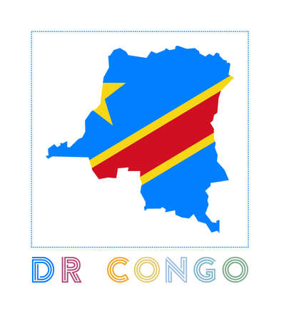 DR Congo Logo. Map of DR Congo with country name and flag. Cool vector illustration.