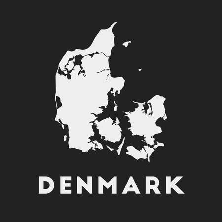 Denmark icon. Country map on dark background. Stylish Denmark map with country name. Vector illustration.