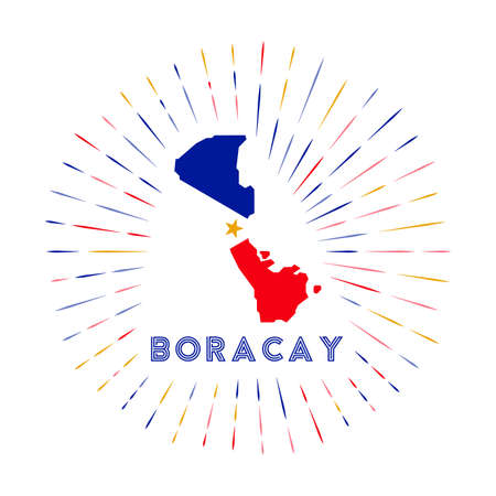 Boracay sunburst badge. The island sign with map of Boracay with Filipino flag. Colorful rays