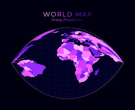 World Map. Craig retroazimuthal projection. Digital world illustration. Bright pink neon colors on dark background. Superb vector illustration.