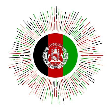 Afghanistan sign. Country flag with colorful rays. Radiant sunburst with Afghanistan flag. Vector illustration.