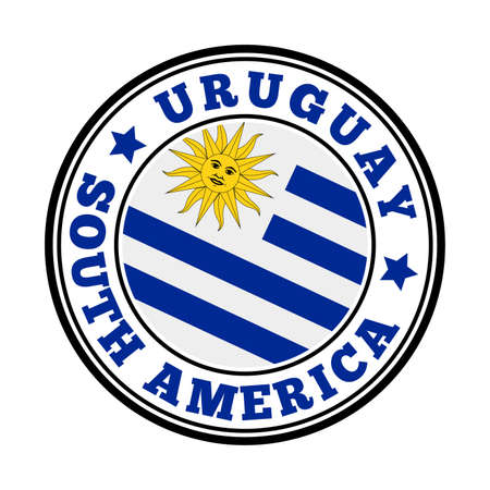 Uruguay sign. Round country with flag of Uruguay. Vector illustration.