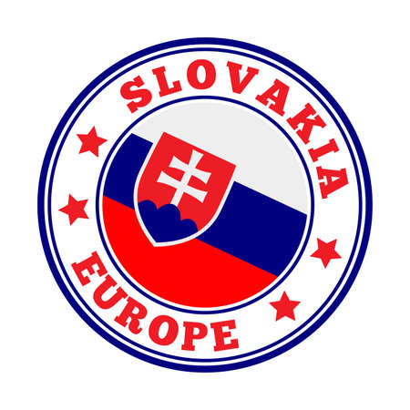 Slovakia sign. Round country with flag of Slovakia. Vector illustration.