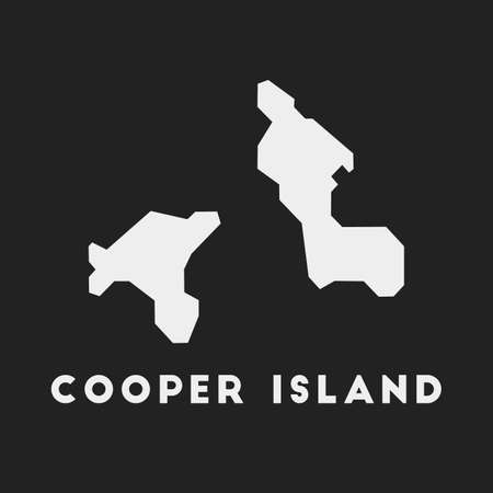 Cooper Island icon. Island map on dark background. Stylish Cooper Island map with island name. Vector illustration. 일러스트