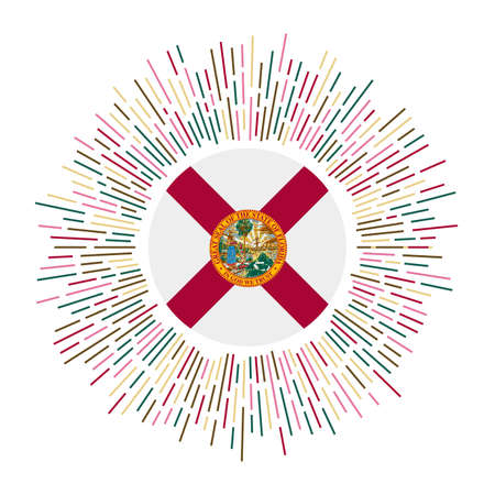Florida sign. Us state flag with colorful rays. Radiant sunburst with Florida flag. Vector illustration. Stock Illustratie