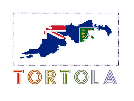 Map of Tortola with island name and flag. Vibrant vector illustration.