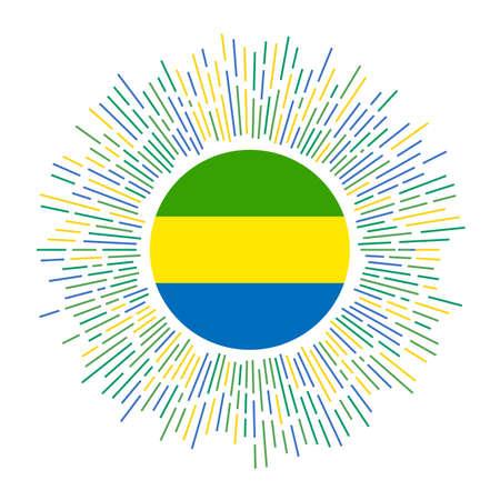 Gabon sign. Country flag with colorful rays. Radiant sunburst with Gabon flag. Vector illustration. Archivio Fotografico - 138421156