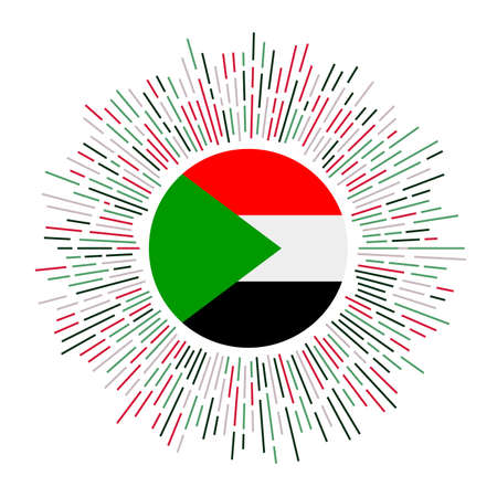 Sudan sign. Country flag with colorful rays. Radiant sunburst with Sudan flag. Vector illustration.
