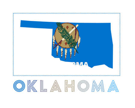 Oklahoma. Map of Oklahoma with us state name and flag. Cool vector illustration.