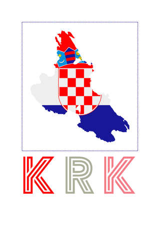 Map of Krk with island name and flag. Astonishing vector illustration. Фото со стока - 138421257