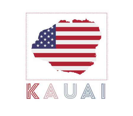 Map of Kauai with island name and flag. Elegant vector illustration.