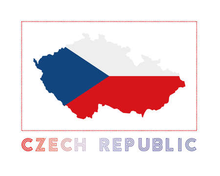 Czech Republic. Map of Czech Republic with country name and flag. Radiant vector illustration. Stock Illustratie