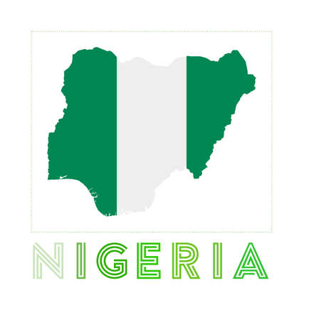 Map of Nigeria with country name and flag. Artistic vector illustration.