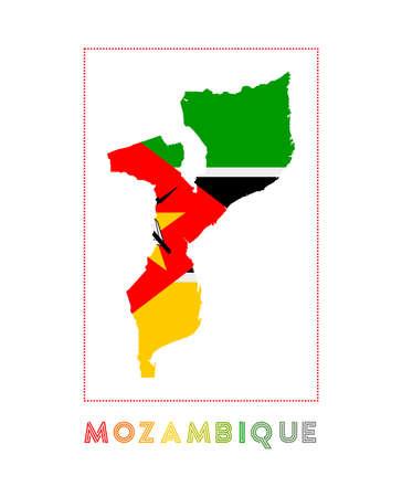 Mozambico. Mappa del Mozambico con il nome del paese e la bandiera. Illustrazione vettoriale elegante. Vettoriali