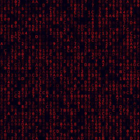 Fond de matrice. Fond hexadémique rempli de rouge. Modèle sans couture de taille moyenne. Illustration vectorielle dynamique.