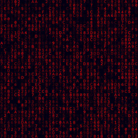 Matrix background. Red filled hexademical background. Medium sized seamless pattern. Vibrant vector illustration.