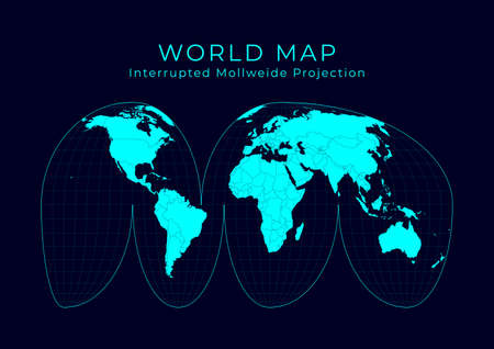 Map of The World. Goode's interrupted Mollweide projection. Futuristic Infographic world illustration. Bright cyan colors on dark background. Classy vector illustration. Stock Illustratie