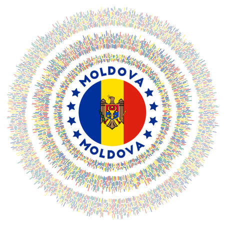 Moldova symbol. Radiant country flag with colorful rays. Shiny sunburst with Moldova flag. Appealing vector illustration. Archivio Fotografico - 138421345