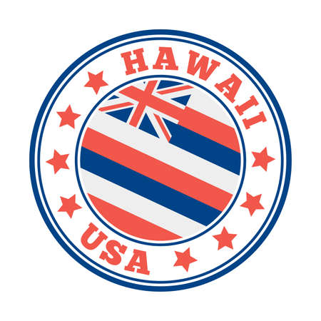 Hawaii sign. Round us state with flag of Hawaii. Vector illustration. Фото со стока - 138421355