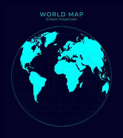 Map of The World. Gilbert's two-world perspective projection. Futuristic Infographic world illustration. Bright cyan colors on dark background. Creative vector illustration. Stock Illustratie