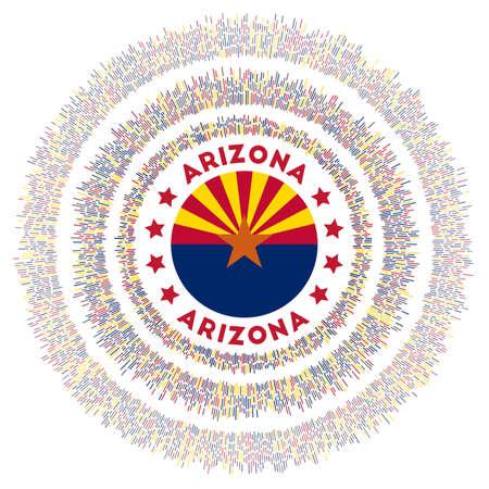 Arizona symbol. Radiant us state flag with colorful rays. Shiny sunburst with Arizona flag. Radiant vector illustration.