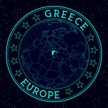 Greece round sign. Futuristic satelite view of the world centered to Greece. Country badge with map, round text and binary background. Superb vector illustration.