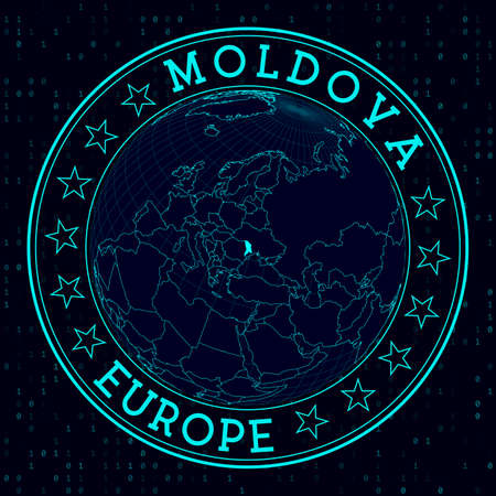 Moldova round sign. Futuristic satelite view of the world centered to Moldova. Country badge with map, round text and binary background. Classy vector illustration.